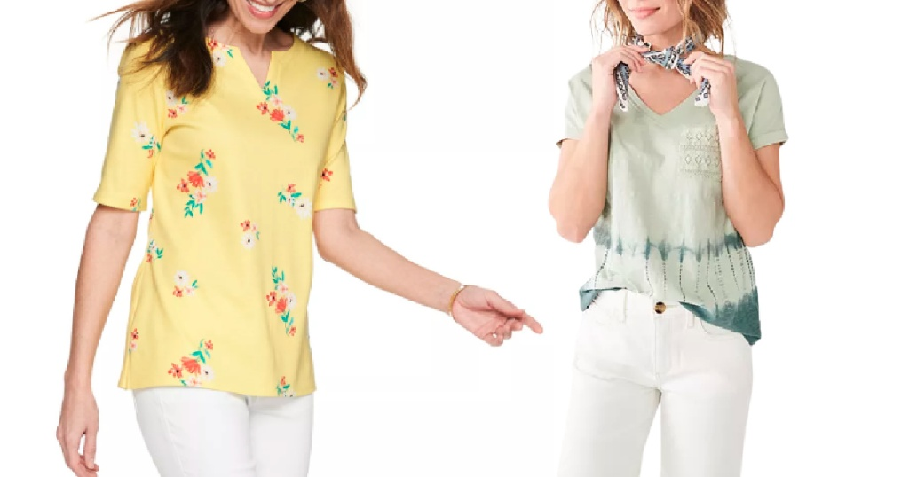 woman wearing floral blouse and woman wearing vneck tee