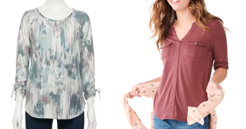 flowing cinch top shirt and woman wearing vneck top