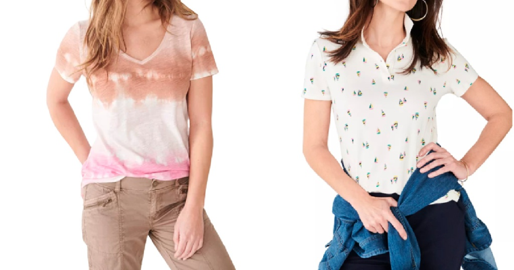 woman wearing vnceck top and woman wearing polo