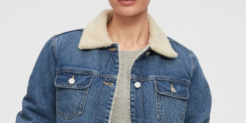 GAP Women's Sherpa-Lined Denim Jacket Just $18 Shipped (Regularly $90) + More Jacket Deals