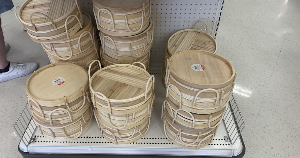 wooden tray w: handles in store at target