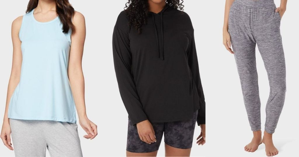 three women wearing 32 Degrees loungewear