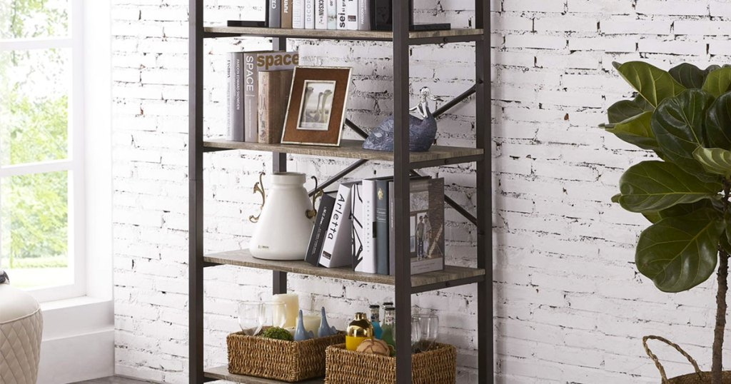 industrial 5-tier bookcase against a white brick wall