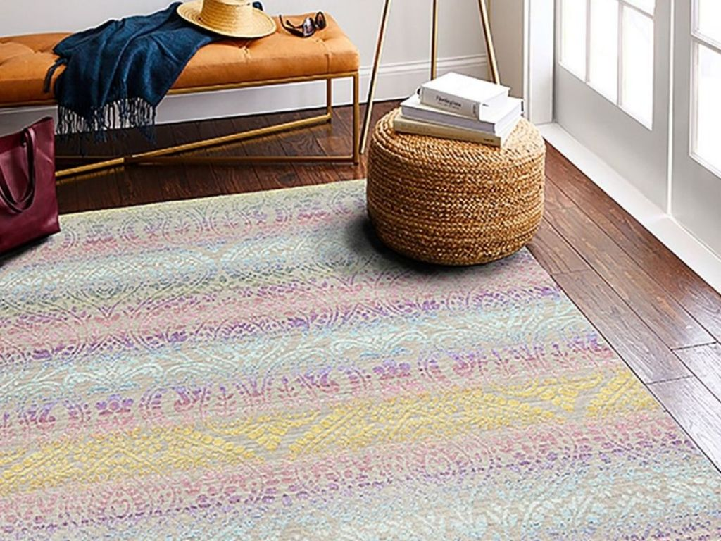 5x7 Area Rug with ottoman and bench