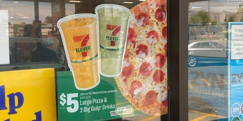 Large Pizza and TWO Big Gulp Drinks Only $5 at 7-Eleven | Starts 5/28 for Memorial Day Weekend