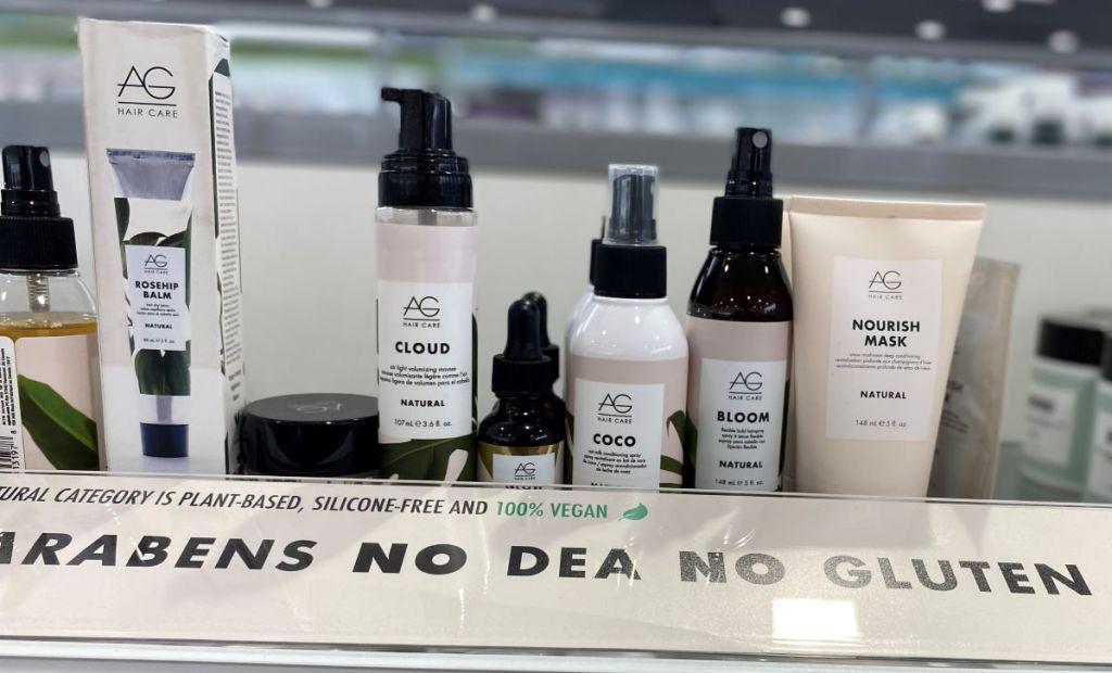 AG Hair products on a shelf