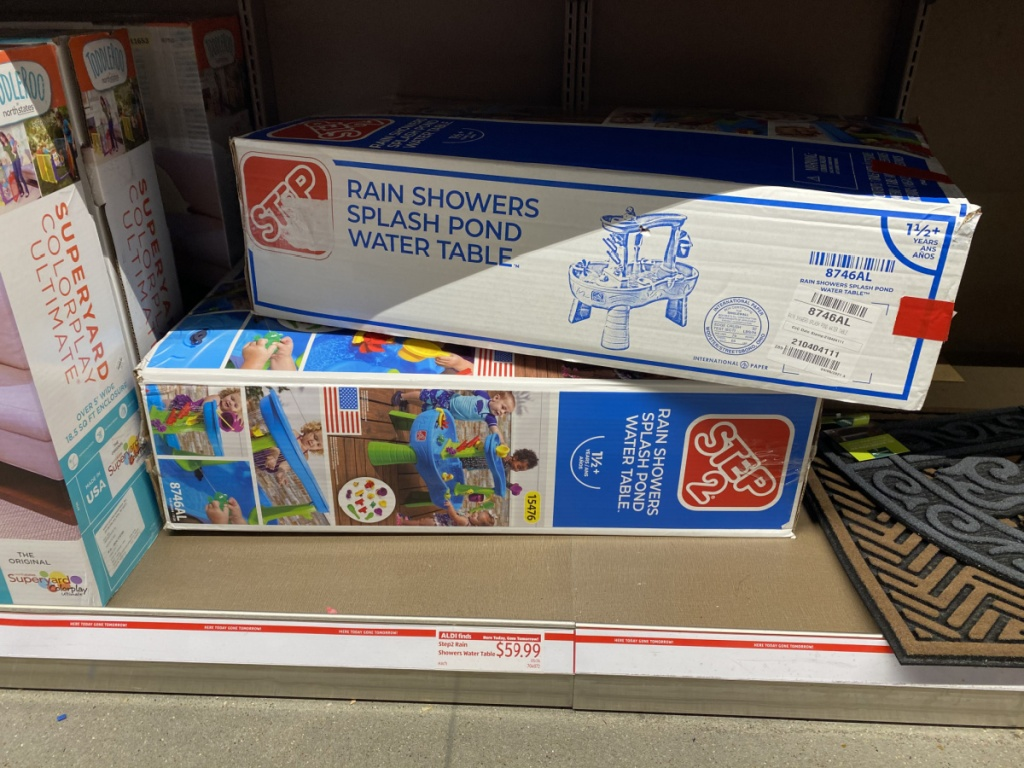 kids water table in box on display in store