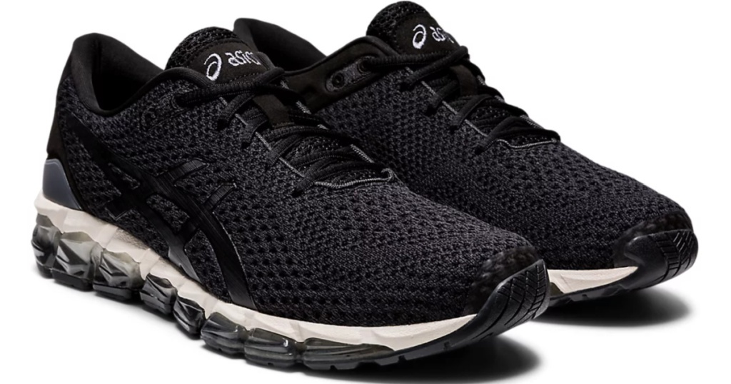 black asics unisex running shoes