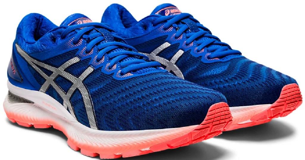 blue and color men's asics shoes