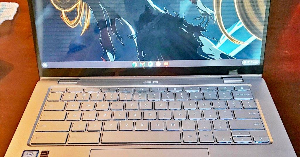silver asus chromebook laptop