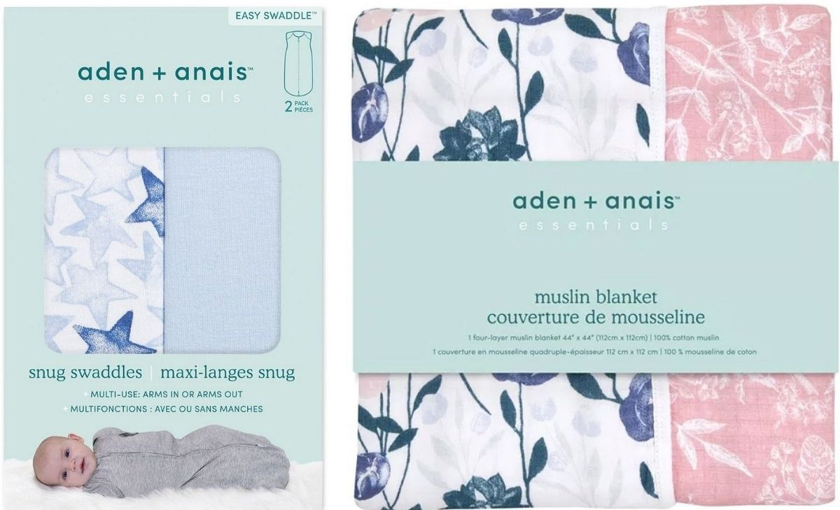 Aden + Anais Easy Swaddle and Floral Blanket