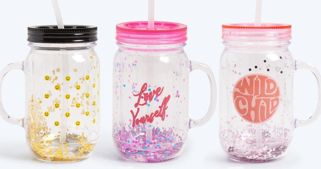 three glitter mason jar tumblers