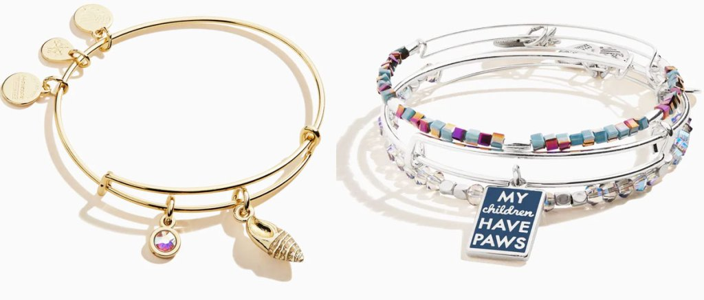 gold and silver alex & ani bracelets