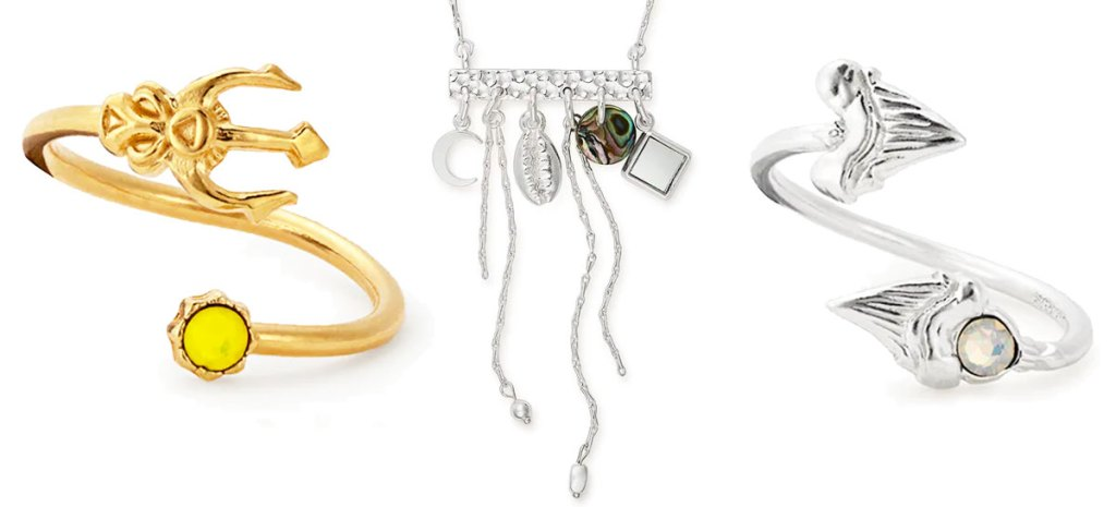 two alex & ani wrap rings and necklace