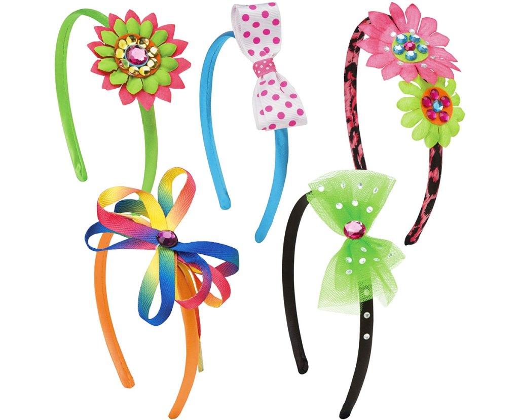 five decorated headbands