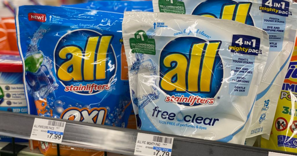laundry pods packages on shelf