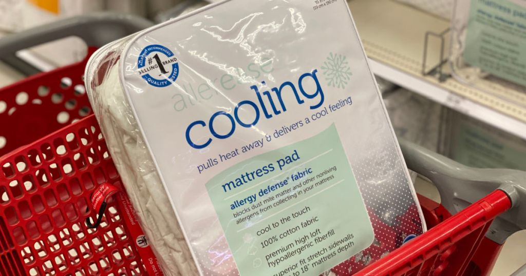 cooling mattress pad in red cart