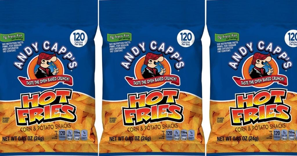 three bags of Andy Capp's Hot Fries