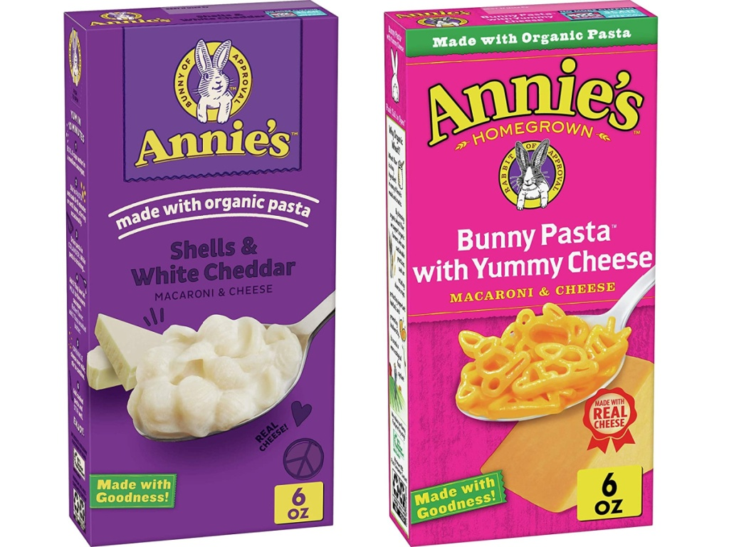 Annie's Shells & White Cheddar and Bunny Pasta with Yummy Cheese