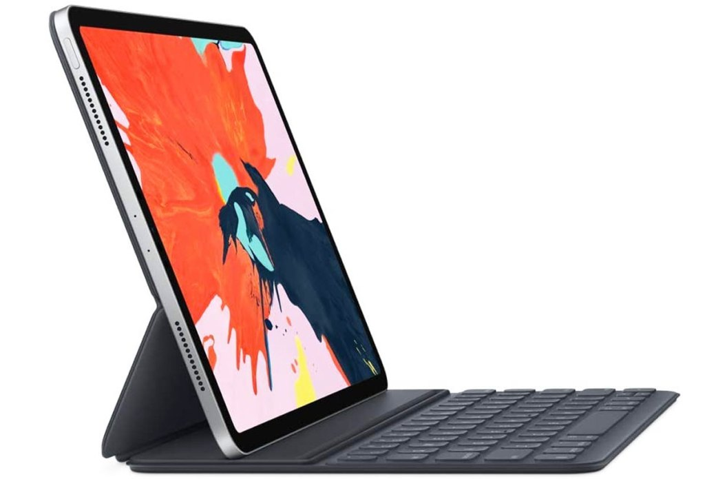 ipad pro with black keyboard case attached