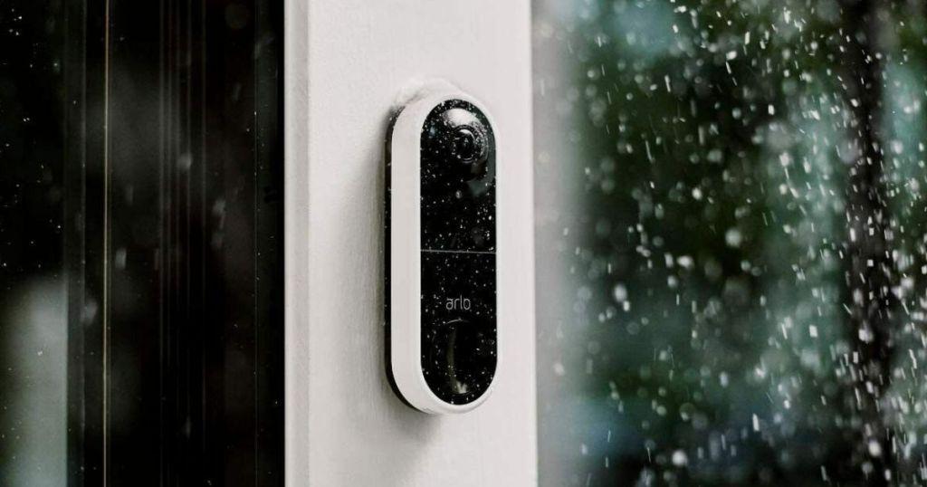 video doorbell by a door