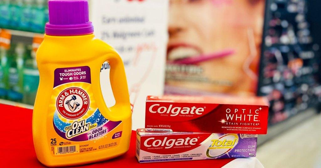 arm & hammer laundry detergent & colgate toothpaste