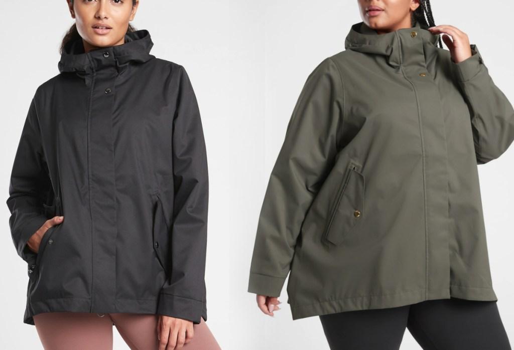 two women wearing coats