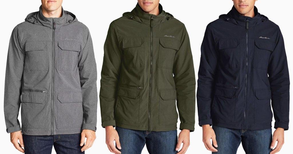 three men in eddie bauer jackets in grey, hunter green, and navy blue