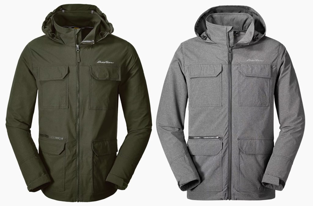 two eddie bauer jackets in hunter green and grey