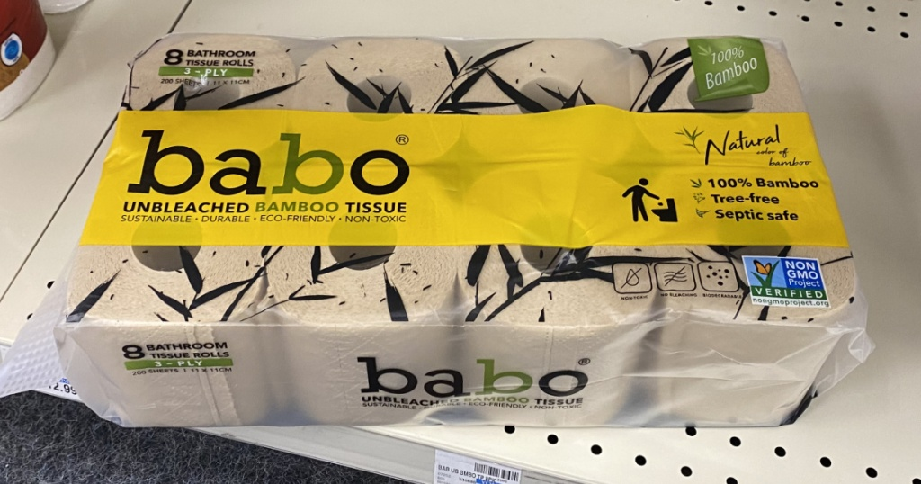 pack of toilet paper on store shelf
