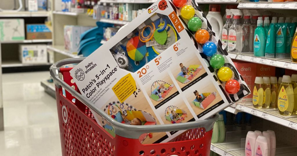 baby activity toy in red cart