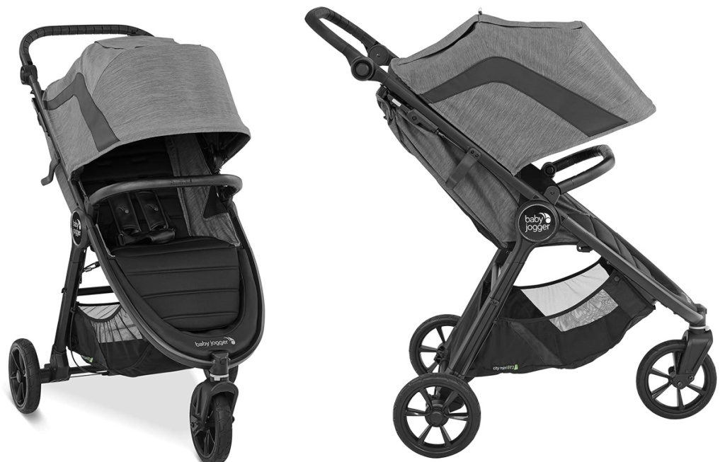 Front and side view of a baby jogger
