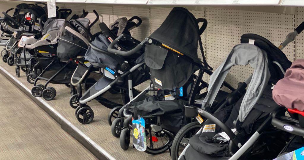 strollers on shelf