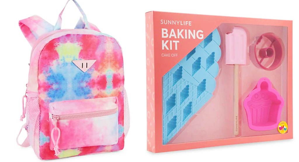 tie dye backpack and baking kit