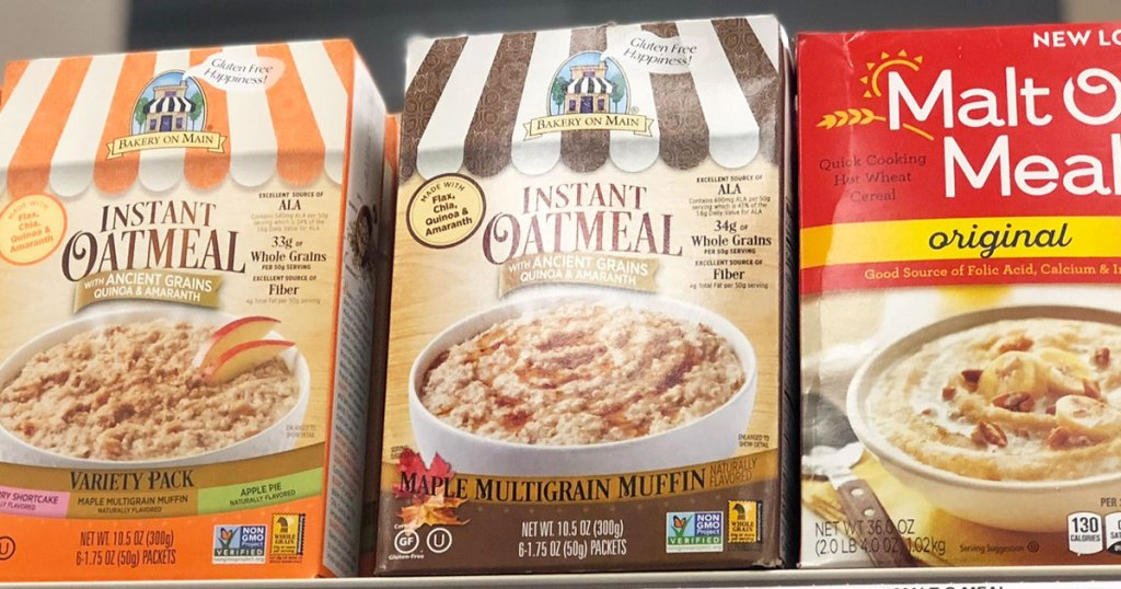 bakery on main instant oatmeal boxes on store shelf