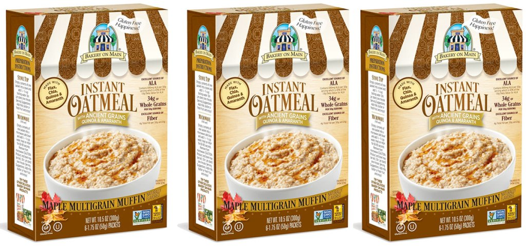 three boxes of bakery on main instant oatmeal