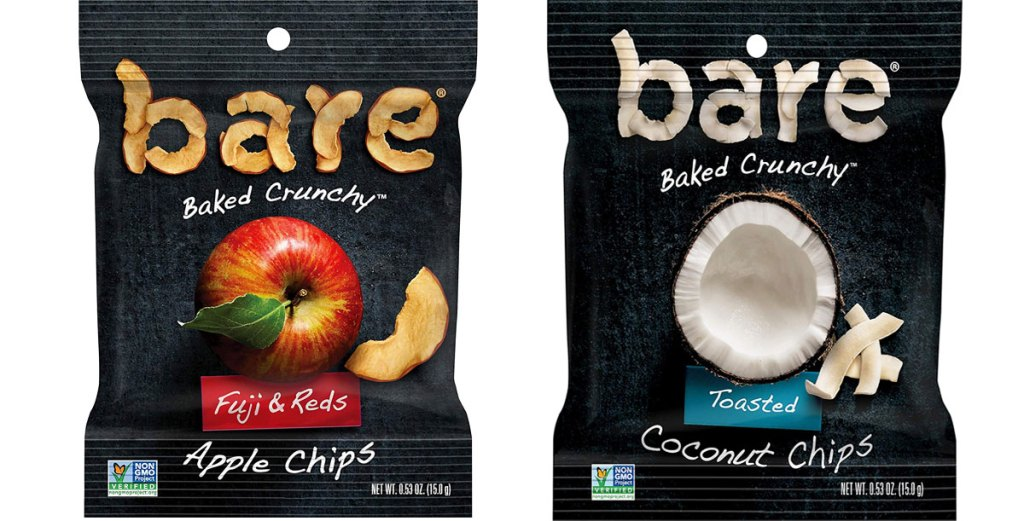two bags of bare fruit chips in apple and coconut