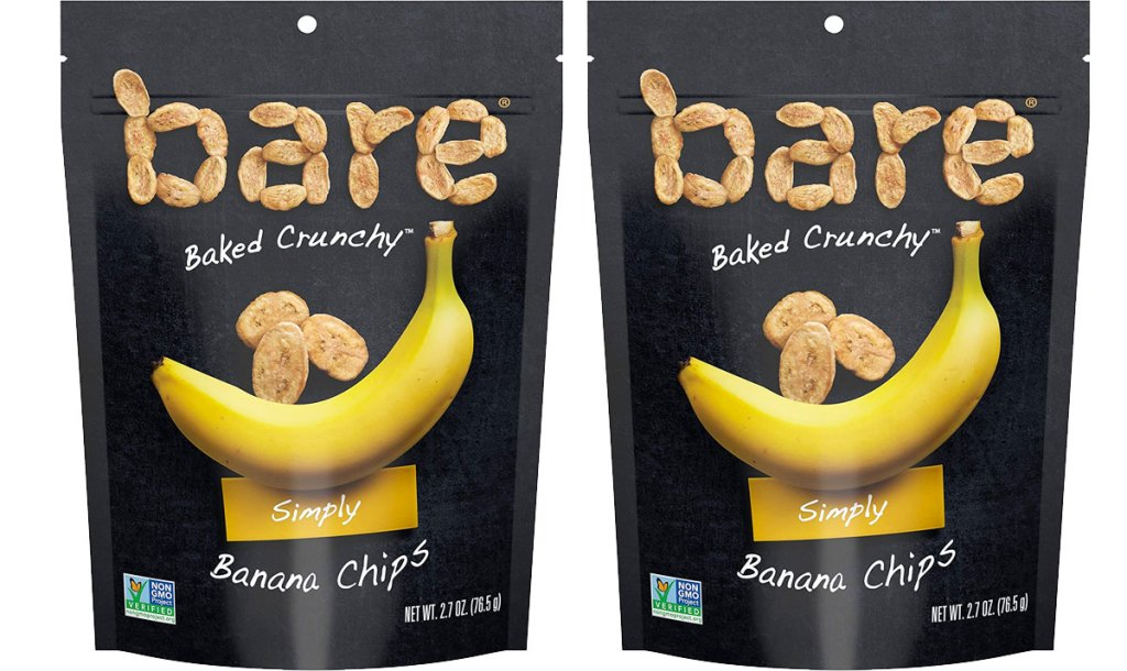 two bags of bare banana chips
