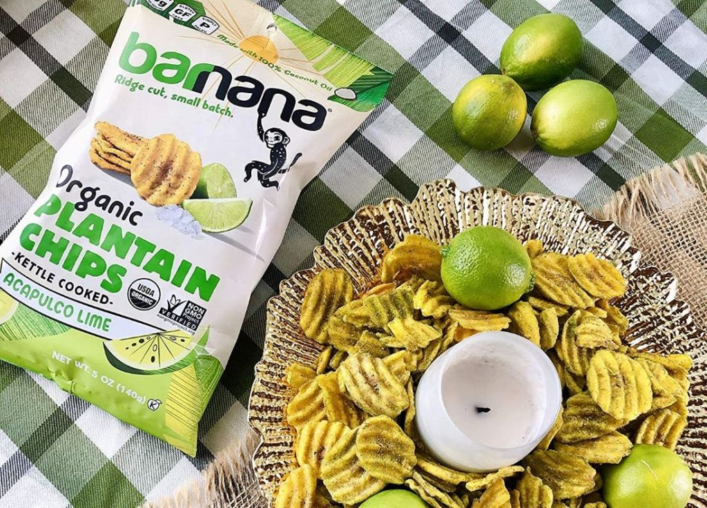 Barnana Chips next to platter with chips