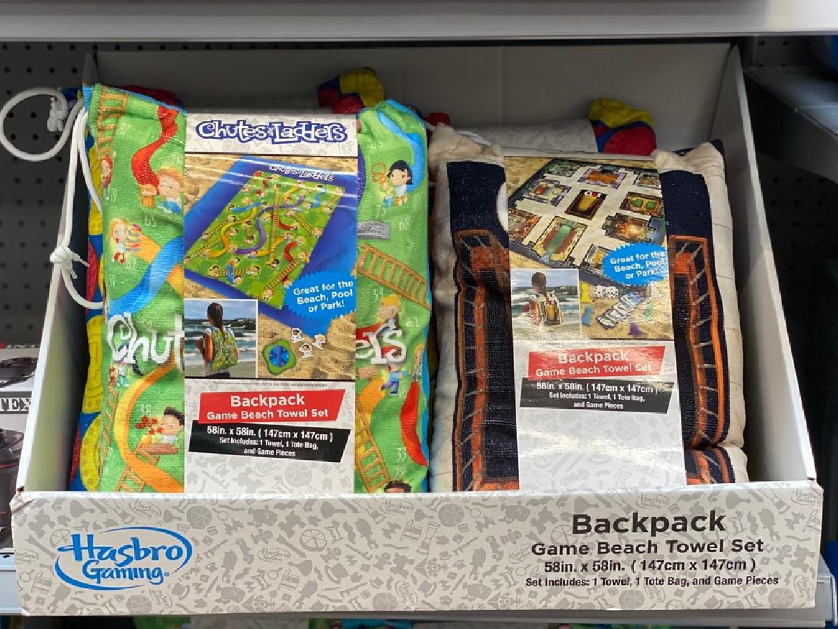 hasbro travel backpack beach towel sets on display in store