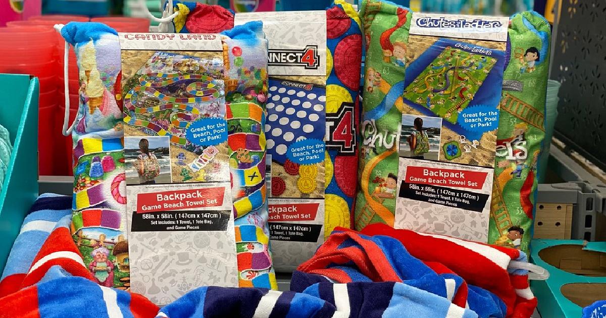 backpack blanket game sets on display