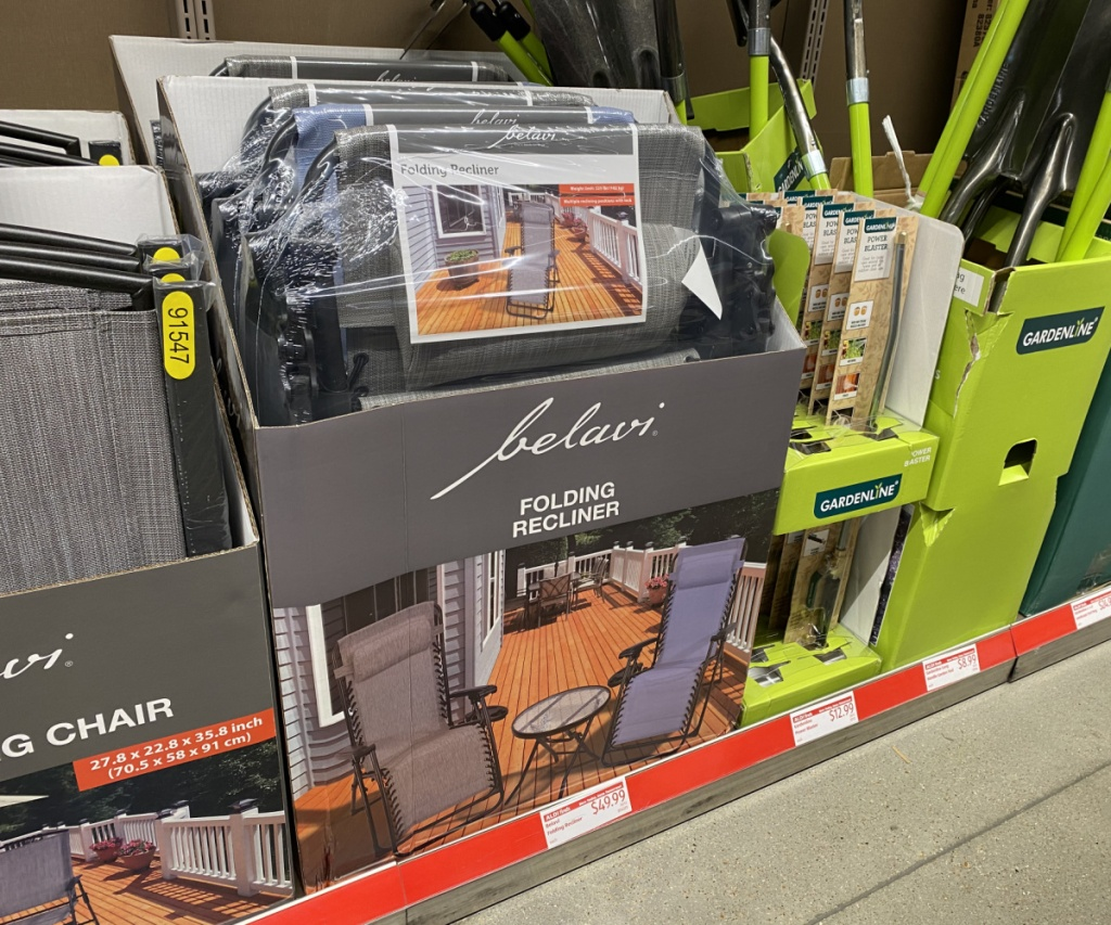 patio chairs on display in ALDI