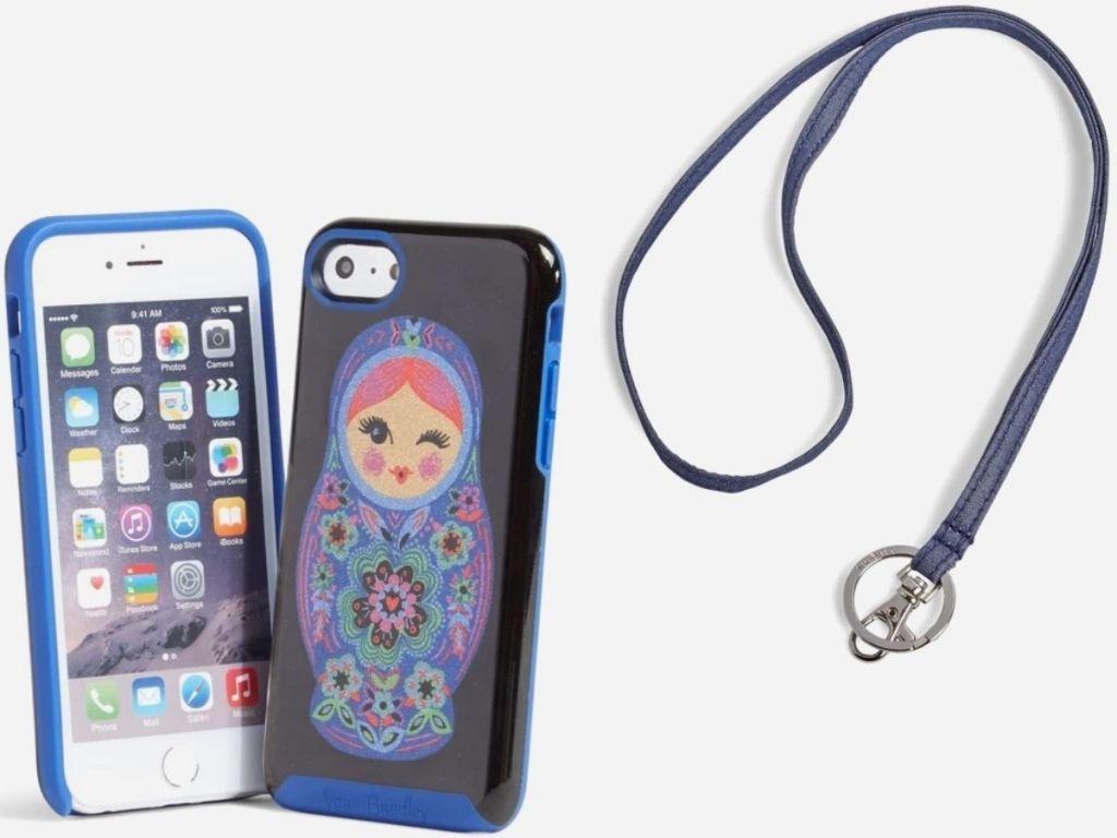 Vera Bradley Iphone Case and Lanyard