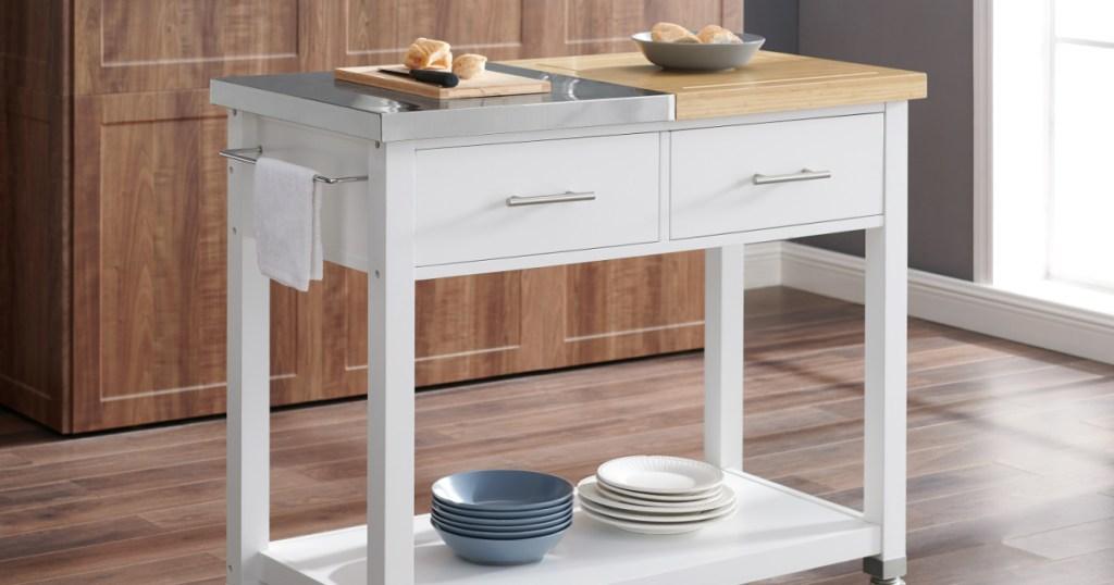 kitchen cart in kitchen