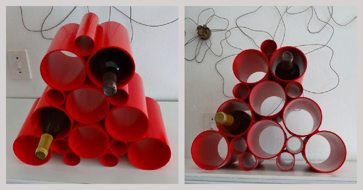red PVC DIY wine rack with bottles