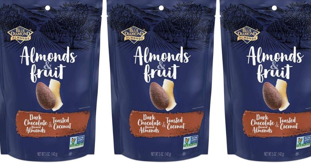 three bags of Blue Diamond Almonds & Fruit
