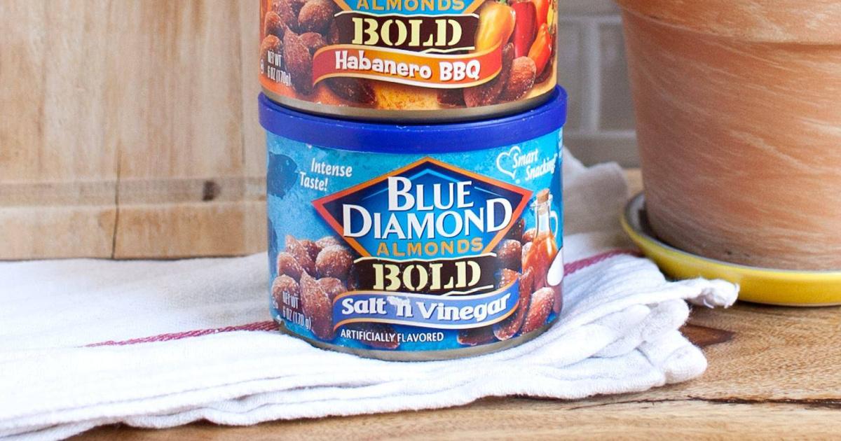 Blue Diamond almonds in a stack