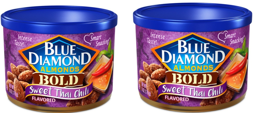 two cans of sweet chili almonds