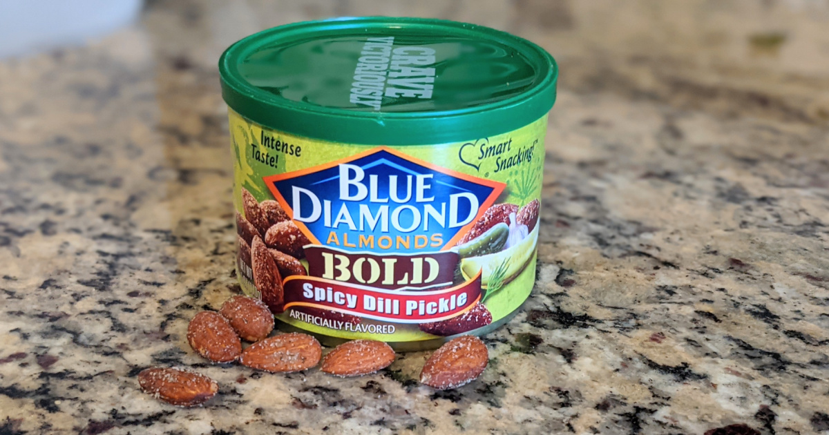 Blue diamond almonds in the Spicy Pickle flavor