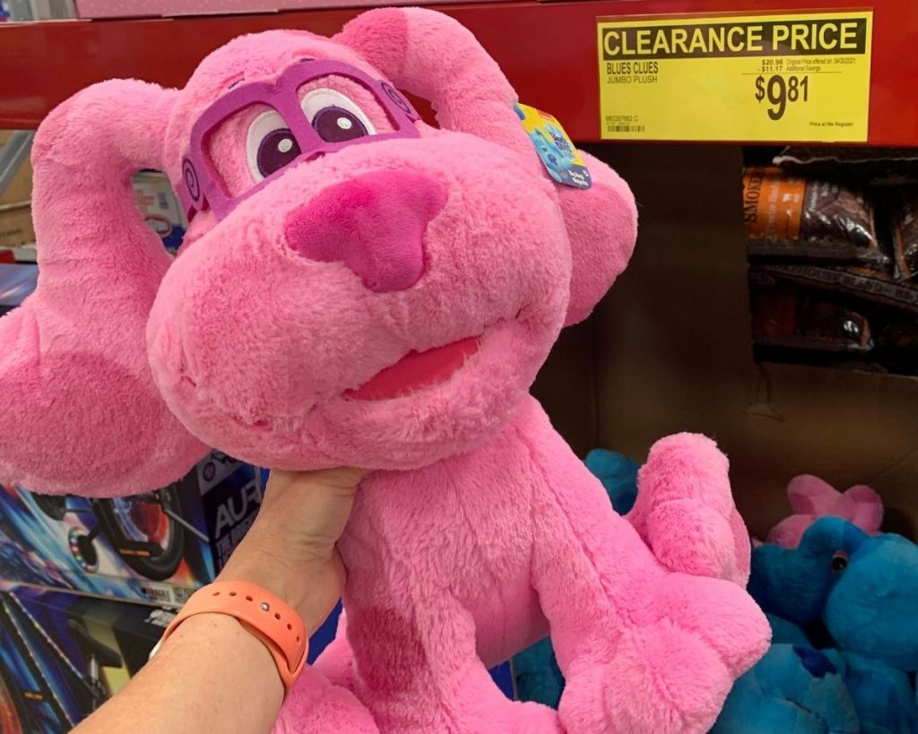 hand holding pink Blues Clues Jumbo Plush by clearance sign in-store at Sam's